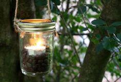 DIY decoração luminária suspensa de frasco de pedreiro