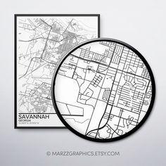 Map Poster Savannah Map, Unique Art, Unique Gifts, Wall Art Prints, Poster Prints, Online Gifts, Map Art, Printable Art, Nursery Modern