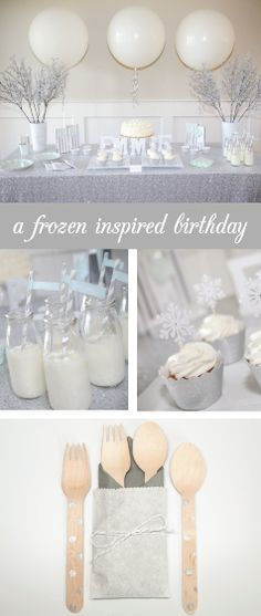 A frozen inspired birthday party makes a beautiful winter wonderland!