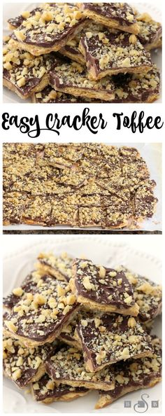 Easy Cracker Toffee is so quick and simple, and the sweet and salty mix from the chocolate and Ritz crackers tastes delicious! Ritz Crackers, Dessert Simple, Candy Recipes, Sweet Recipes, Dessert Recipes, Fudge Recipes, Baking Recipes, Cookie Recipes, Holiday Baking