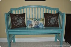 Website on how to make benches out of headboards and cribs.