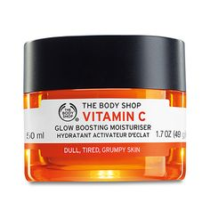 """The Body Shop Vitamin C Glow Boosting Moisturiser [I really wanted this product to work but alas the universe is against me. It is a citrus-scented moisturiser that absorbs easily and suppose to make the skin feel plumper. Unfortunately this make my skin """"glow"""" in a bad way. Rather than plumping the skin, it makes my T-zone oilier than normal. Also, it seems to aggravate my sensitive skin which resulted in tiny white bumps. Definitely not for me.]"""