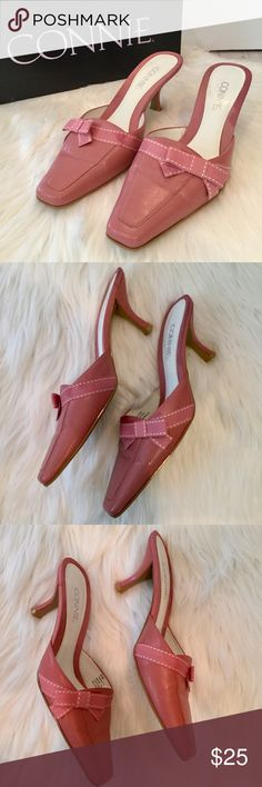 "Rose Pink Mule Heels w/Box, 6, EUC Rose Pink Mule Heels w/Box, 6, EUC Pretty pastel pink rose colored mules with ribbon and bow embellishments. Genuine leather upper and 3"" heels. Excellent preowned condition in original box. Connie Shoes Mules & Clogs"