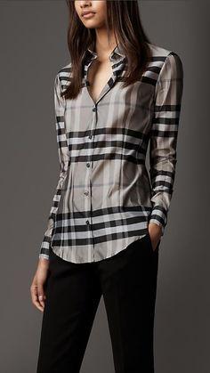 Check Silk Blend Shirt in Beat Check Look Fashion, Fashion Outfits, Womens Fashion, Fashion Check, Burberry Shirt Women, Burberry Brit, Pinterest Fashion, Check Shirt, Work Attire