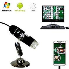 🔥-50%🔥. Jiusion 40 a 1000 x ingrandimento USB microscopio digitale endoscopio, 2 MP 8 LED USB 2.0, mini videocamera con adattatore OTG e metallo supporto, compatibile con Mac e Windows 7 8 10 Android Linux