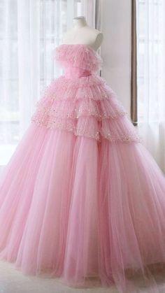 Pink Prom Dresses, Pink Gowns, Ball Dresses, 15 Dresses, Pretty Dresses, Beautiful Dresses, Evening Dresses, Fashion Dresses, Flower Girl Dresses