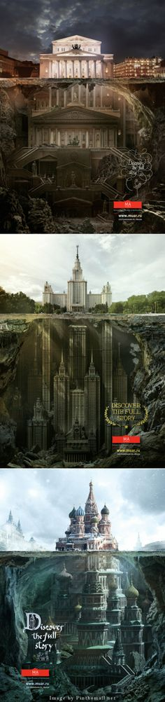 """Below The Surface Of Architectures Agency Saatchi&Saatchi Russia has made illustrations campaign for the Schusev State Museum of Architecture in Moscow, entitled """"Below The Surface"""". Through the visuals, we discover the fictional undersides of different famous buildings. A production by Carioca Studio, to discover. - created via http://pinthemall.net"""