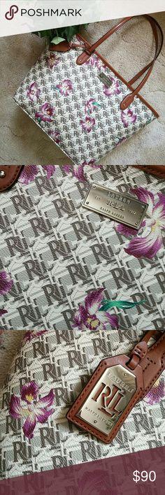 Ralph Lauren tote bag BNWT This is a gorgeous authentic Ralph Lauren tote bag brand new with tags zipper closure what are owl initials all over bag with purple flower detail. Zipper pocket inside. Gorgeous inside lining stunning bag. Ralph Lauren Bags Totes