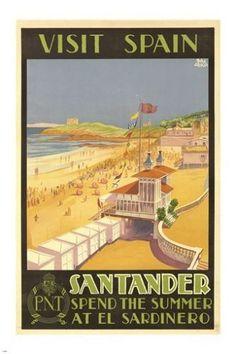 VISIT SANTANDER SPAIN vintage travel poster OCEANSIDE BEACH SCENE 24X36 hot