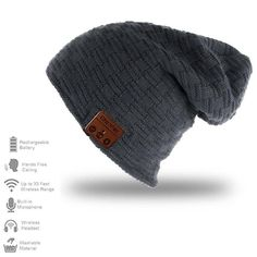 Deals week ChenFec Music Beanie Bluetooth Unisex Beanie Hat Cap with  Wireless Bluetooth Headphone Wool Knit Music Beanie for Winter Sports  Fitness Gym ... 202d347f9056