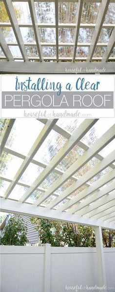 Turn your patio pergola into a three season porch with a new roof! Adding a clea… Turn your patio pergola into a three season porch with a new roof! Adding a clear pergola roof is the perfect weekend DIY. See how easy it is at Housefulofhandmad…. Diy Pergola, Building A Pergola, Pergola Canopy, Deck With Pergola, Wooden Pergola, Outdoor Pergola, Patio Roof, Pergola Plans, Outdoor Rooms