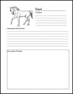 Horse breed notebooking page {free printable}