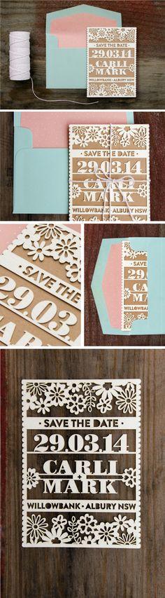 ADD diy <3 <3 www.customweddingprintables.com ...Laser Cut Save the Date by Love Carli by Carli Foot, via Behance