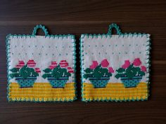 Pelargoner Pot Holders, Knitting, Crochet, Knits, Patterns, Crocheting, Potholders, Block Prints, Hot Pads