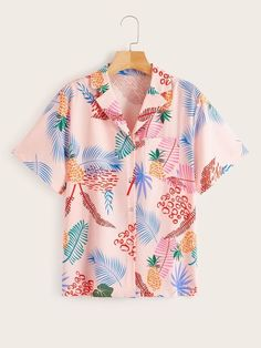 To find out about the Tropical Print Notched Neck Blouse at SHEIN, part of our latest Blouses ready to shop online today! Pink Fashion, Fashion Prints, Trouser Jeans, Summer Shirts, Summer Blouses, Look Cool, Types Of Shirts, African Fashion, Printed Shirts
