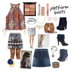 Kickin' With Platform Boots. by indstargazer0804 on Polyvore featuring polyvore fashion style H&M Replay Ksubi Wet Seal Casadei JustFab Steffen Schraut UGG BaubleBar Red Camel Primrose Megan Park Collections by Hayley MAC Cosmetics Maybelline Too Faced Cosmetics clothing