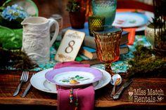 Alice in Wonderland, amber goblets, vintage dinnerware, farm table