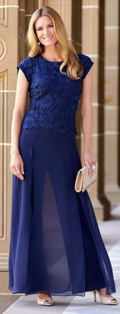 Royal Blue lace in fashion chiffon pant suits for mother of the bride trousers outfits Evening Dresses For Weddings, Blue Wedding Dresses, Bride Dresses, Event Dresses, Wedding Outfits, Beach Dresses, Occasion Dresses, Hawaiian Dresses, Ivory Dresses