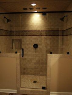 Walk in Shower Double shower heads tiled shower master bath shower.