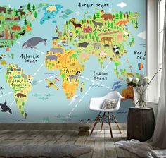 (1) 3D Cartoon World Map Wall Mural Wallpaper 8 – Jessartdecoration Kids World Map, World Map Wall, 3d Wallpaper, Wallpaper Ideas, 3d Cartoon, Wall Murals, Indiana, Atlanta, Africa