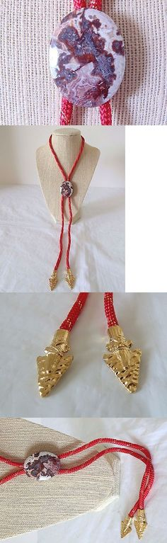 Bolo Ties 10292: Rare Red Crazy Lace Agate Bolo Tie Bola Arrowhead Arrow Ends -> BUY IT NOW ONLY: $32 on eBay!