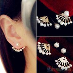 GDSHOP Fashion Front & Back Earrings Pearl Ear Earbobs Ear Clips Studs earrings for women - Jewelry For Her Pearl Stud Earrings, Pearl Studs, Women's Earrings, Gold Necklace, Jewelry For Her, Fine Jewelry, Trendy Jewelry, Women Jewelry, Handmade Jewelry