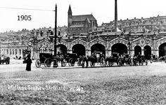 Sheaf Street outside Midland Railway Station looking towards St. Luke's Church and chimney of William Greaves and Co., Norfolk Brewery, showing hansom cabs in foreground Sheffield City, Hanover Street, Sources Of Iron, Stone Facade, Derbyshire, Old Pictures, Water Features, Old Things