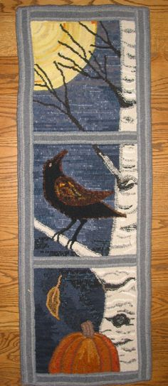 This would be a pretty quilted fabric fall wall hanging as well as a great wool rug. LOOK OUT- Designed and hooked by Fritz Mitnick - Polka Pics Bird Quilt, Rug Hooking Patterns, Hand Hooked Rugs, Wool Art, Fabric Rug, Landscape Quilts, Penny Rugs, Quilted Wall Hangings, Small Quilts