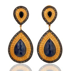 Diamond and Blue Sapphire Earrings 18k yellow by almascollection, $360.00