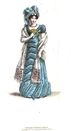 La Belle Assemblee, Parisian Morning Dress, January 1821. Another coffee filter dress! These were all the rage in the early 1820s :) (Seriously though- can you imagine the WORK that went into making and applying all those little ruffles?)
