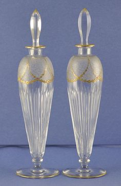 Elegant, PAIR, (2) 19th Century, Tall, Clear Crystal Perfume / Cologne Bottles with Etched Flowers & Tons of Gilt Accents  These glorious cologne