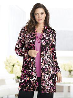 Plus Size Matte Jersey Shawl Lapel Jacket
