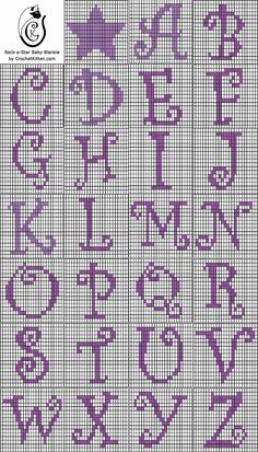 Alphabet chart for crochet - could be used for cross stitch. Crochet Letters Pattern, Graph Crochet, Tapestry Crochet Patterns, Letter Patterns, Crochet Stitches, Embroidery Stitches, Filet Crochet Alphabet Charts, Crochet Alphabet Letters, Embroidery Patterns