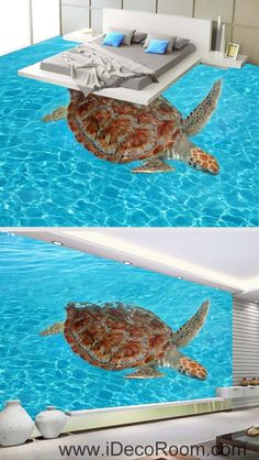 Image of Giant Turtle in the Sea Ocean 00065 Floor Decals Wallpaper Wall Mural Stickers Print Art Bathroom Decor Living Room Kitchen Waterproof Business Home Office Gift 3d Wallpaper For Walls, Wallpaper Stickers, Photo Wallpaper, Floor Wallpaper, Wall Stickers, Floor Decal, Floor Murals, Wall Murals, Wall Art