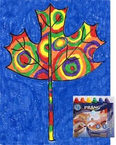 Art Projects for Kids: Kandinsky Leaves Maple Leaf Drawing, Kandinsky Art, Kandinsky For Kids, Drawing School, Art Classroom, Teaching Art, Color Crayons, Crayon Crafts, Fall Art Projects