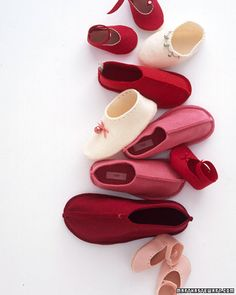 Add the silvery peal of tiny bells -- as well as scalloped or hole-punched edges, bows, and embroidery -- to a darling pair of homespun slippers.