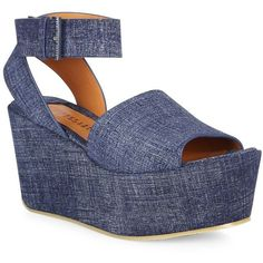 Derek Lam 10 Crosby Faye Denim Wedge Platform Sandals ($290) ❤ liked on Polyvore featuring shoes, sandals, apparel & accessories, indigo, chunky-heel sandals, peep toe sandals, platform shoes, platform wedge sandals and chunky platform sandals