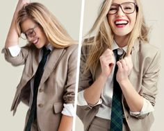 perfect university look Preppy Style, Style Me, Women Wearing Ties, Tie Styles, Geek Chic, Dress Up, Menswear, Feminine, Style Inspiration