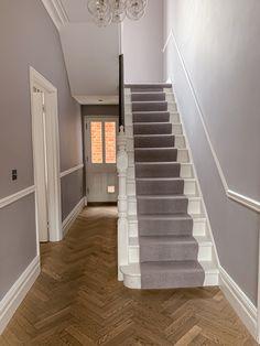 Oak Parquet Flooring, Hallway Flooring, Wooden Flooring, Entrance Hall Decor, House Entrance, Cottage Hallway, Narrow Hallway Decorating, Victorian Hallway, House Staircase
