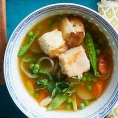 Top each bowl of soup with cheesy toasted bread cubes and fresh pea shoots.