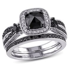 Shop for CT. Cushion-Cut Enhanced Black and White Diamond Square Frame Bridal Set in Sterling Silver at Zales - CT. Cushion-Cut Enhanced Black and White Diamond Square Frame Bridal Set in Sterling Silver Engagement Wedding Ring Sets, Diamond Wedding Bands, Diamond Engagement Rings, Diamond Rings, Diamond Gemstone, Sapphire Rings, Solitaire Rings, White Sapphire, Gemstone Jewelry
