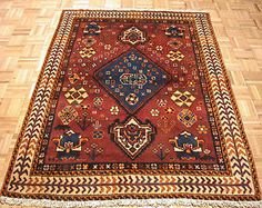 4x6 Antique Persian Oriental Qashqai Tribal Hand Knotted Wool Rust Rug Carpet