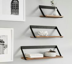 Rustic yet modern, our stylishly practical Trenton Shelves are crafted from fir wood and industrial iron. Available in an array of sizes, these shelves belong in almost any room of the home – from showcasing decor in the living room to ho Steel Furniture, Industrial Furniture, Diy Furniture, Furniture Design, Room Decor, Wall Decor, Aging Wood, Floating Shelves, Metal Shelves