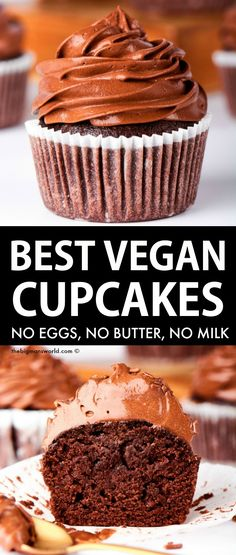 Gluten Free Cupcake Recipe Easy, Easy Chocolate Cupcake Recipe, Vegan Cupcake Recipes, Vegan Chocolate Frosting, Gluten Free Chocolate Cupcakes, Dairy Free Frosting, Vegan Baking Recipes, Vegan Cupcakes, No Egg Cupcake Recipe
