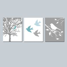 Modern Bird Trio Set of Three 8x10 Prints Nursery by Tessyla