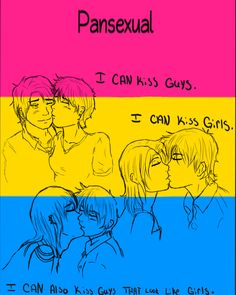 """Or I can kiss girls that look like guys....wait, aren't these examples bisexual though, because it's defined by a gender binary? """"Pansexual by ~ValiantIronSide on deviantART"""""""