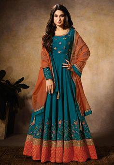 6c10b130a6 Buy Teal Blue Jennifer Winget Silk Anarkali Suit- Best Price–Liinara  Anarkali Tops,