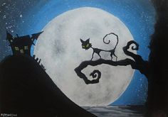 "Original Acrylic painting ""Haunted House"" cat Halloween spooky tree"