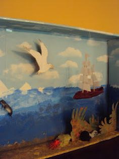 I love this craft done at Harrington Harmonies.  It's a beautiful 3D seascape project done alongside a unit study using the book Seabird by Holling Clancy Holling.   It looks like it was all done with a shallow box, some paper and paint.  Love it!!!