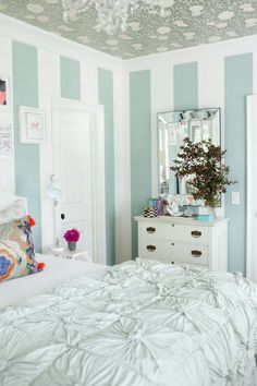 turquoise striped walls